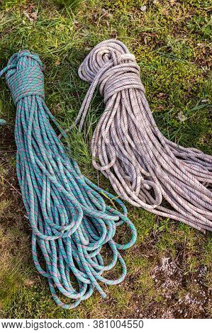 Polyamide Fibres Safety Climbing Ropes, Mountain Climbing Equipment On A Ground, Mountaineering Imag