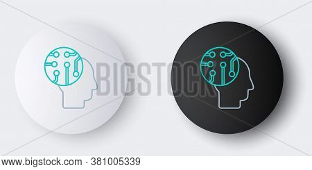Line Human Brain As Digital Circuit Board Icon Isolated On Grey Background. Human Head Outline With