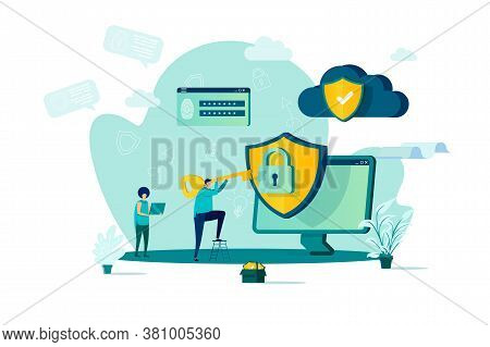 Cyber Security Concept In Flat Style. Man With Key Getting Access To Information Scene. Data Protect