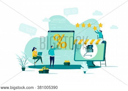 Discount Of Goods Concept In Flat Style. Shoppers View Discount Sales Propositions Scene. Seasonal D