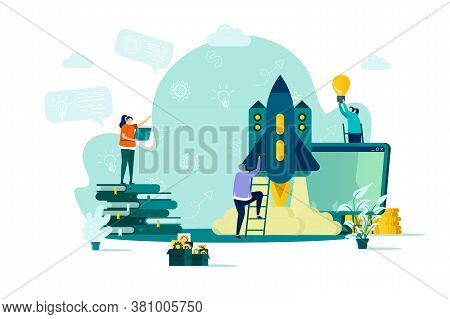 Startup Project Concept In Flat Style. Team Of Startup Founders Launching New Project Scene. Innovat