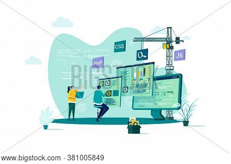 Web Development Concept In Flat Style. Developers Team Construct Web Application Scene. Full Stack D