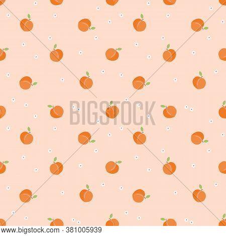 Cute Little Peach Fruit Seamless Pattern. Fresh Fruit Concept