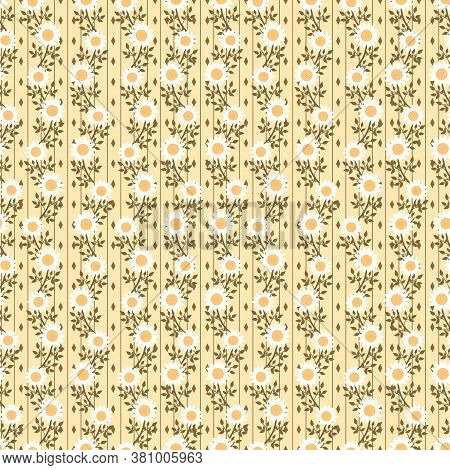 Tiny Sweet Flower In Yellow Background Seamless Pattern