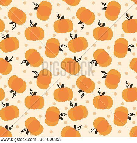 Cute Pumpkin Seamless Pattern. Autumn Theme Concept.