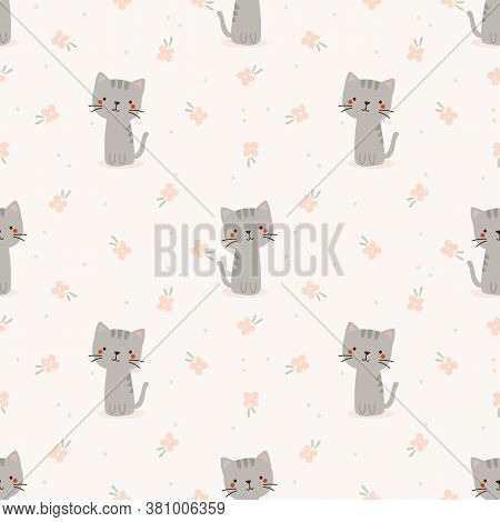 Cute Cat And Flower Seamless Pattern. Lovely Animal Concept