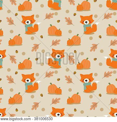 Cute Fox And Pumpkin Seamless Pattern. Autumn Theme