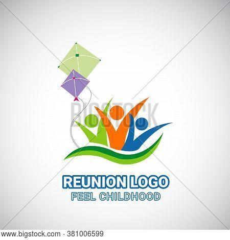 School Reunion Logo Design With Flying Kite