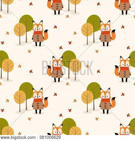 Cute Fox And Autumn Season Seamless Pattern.