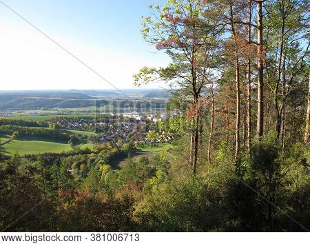 View From Pfaffenberg On The 3-memorial Stone Path At Georg-stein In Drackendorf Via Jena, Thuringia