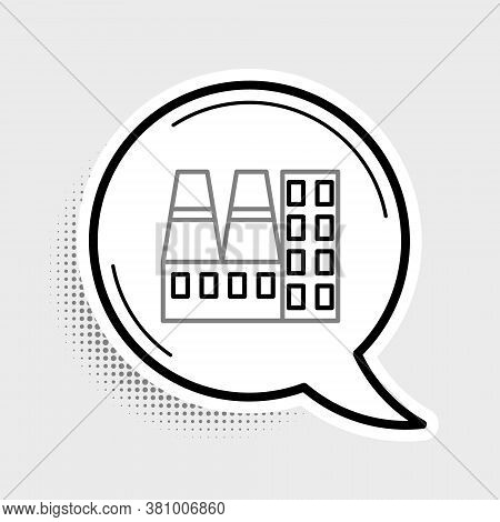 Line Power Station Plant And Factory Icon Isolated On Grey Background. Energy Industrial Concept. Co