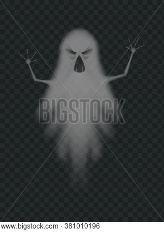 Evil Ghost Scaring With Frightening Face. Halloween Monster Silhouette. Flying Evil Phantom Or Spiri