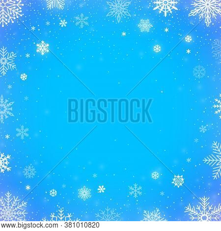 Winter Falling Snow Blue Background. Christmas Or New Year Border Decoration. Winter Season Snowfall