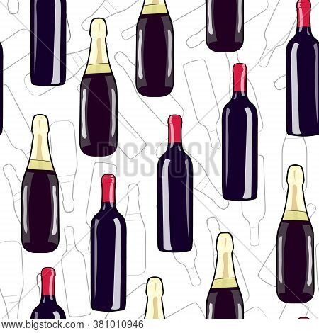 A Bottle Of Wine And A Bottle Of Champagne. Seamless Pattern Bottle. Hand Drawing Alcohol Bottle. Ve