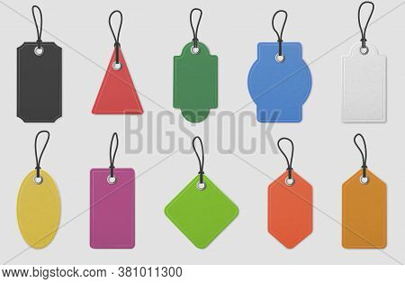 Color Paper Price Tag Labels. Realistic Colored Shopping Hanging Tags With Ropes For Pricing Marking