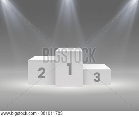 Winner Podium. White Pedestal With Spotlights, Empty Stage For Award Ceremony Winners, Sport Victory
