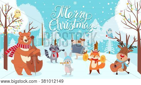Animals Celebrating Christmas. Xmas Cute Card With Happy Animals Musicians, Winter Forest With Holid