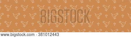 Seamless Background Carnotaurus Dinosaur Gender Neutral Baby Border Pattern. Simple Whimsical Minima