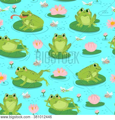Frog Seamless Pattern. Repeating Cute Frogs And Aquatic Plants Baby Shower Design, Cards Print Or Wa