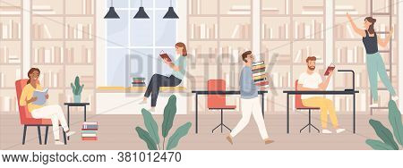 People In Library. Men And Women Read Book, Students Study With Books And Gadgets In Public Library