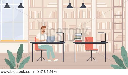 Man In Library. Young Man In Public Library Interior With Bookshelves, Desks And Laptop, Bibliophile
