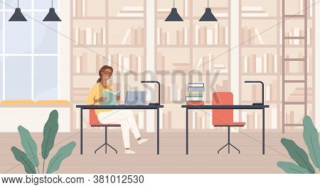 Woman In Library. Young Lady With Book In Public Library Reading Room Interior With Laptop, Bookshel
