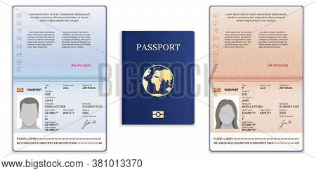 Passport Template. International Open Passport With Sample Personal Data Page Man And Woman Document