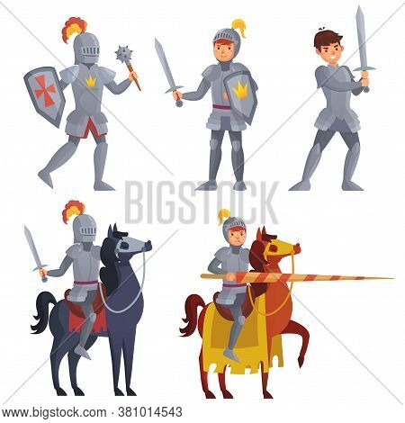 Medieval Knight Holding Sword, Royal Knight With Lance On Horseback. Warriors With Shield And Mace F