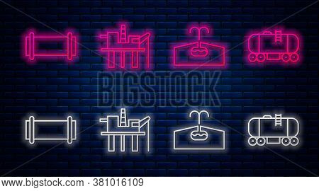 Set Line Oil Platform In The Sea, Oilfield, Industry Pipe And Oil Railway Cistern. Glowing Neon Icon