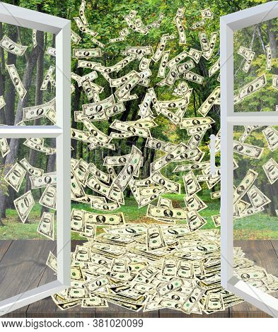 Pile Of Dollars Flying Away From Window Overlooking Park. Dollar Bills By Opened Window With Summer