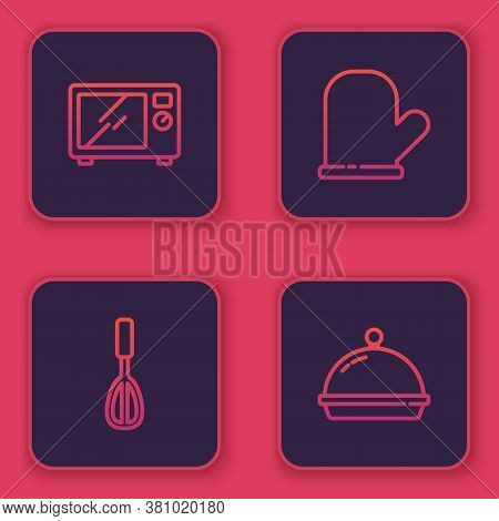 Set Line Microwave Oven, Kitchen Whisk, Oven Glove And Covered With Tray Of Food. Blue Square Button