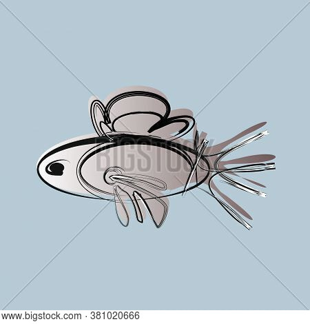 Steel Fish On A White Background. Simple Concept Vector Illustration. Fish Pattern