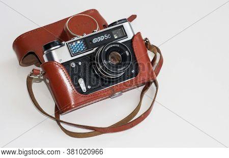 Soviet Camera On A Light Background In A Case. Soviet Fed-5 Camera 1935-1955God. Moscow, Soviet Unio
