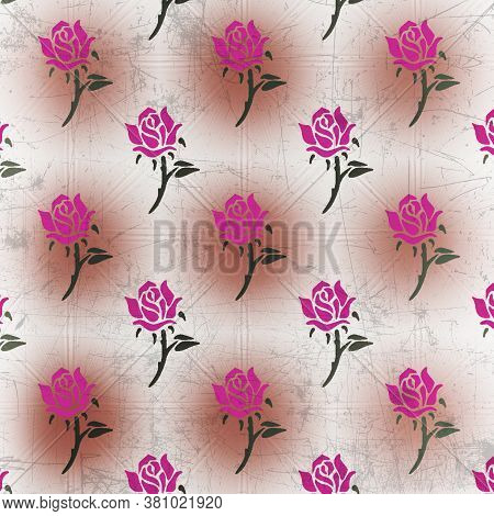 Pink Rose Distressed Pattern In A Unique Background With Fushia And Brown Colors In This 12x12 Flora