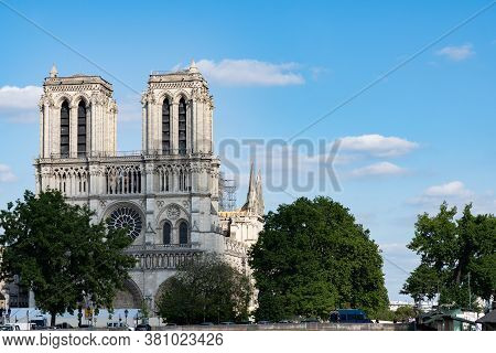 Rebuilding And Saving Of The Roof Of Notre-dame After Fire. View From Seine River. Paris - France, 3