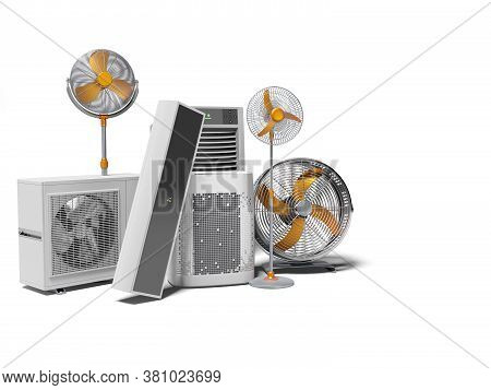3d Rendering Concept Fans Air Conditioners And Portable Air Conditioners White Background With Shado