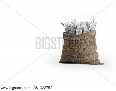 3d Rendering Money Falling In Bag On White Background With Shadow