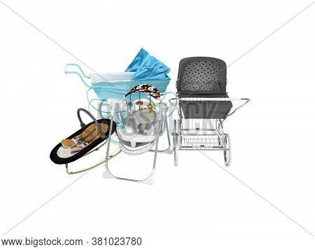 3d Rendering Set For Sleeping Baby, Two Baby Strollers For Walk And Portable Bed On White Background