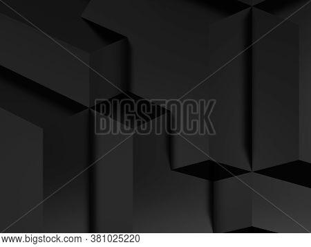 Abstract Shiny Black Cgi Background. Geometric Pattern, 3d Rendering Illustration