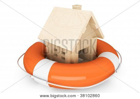 Wooden House With Life Buoy