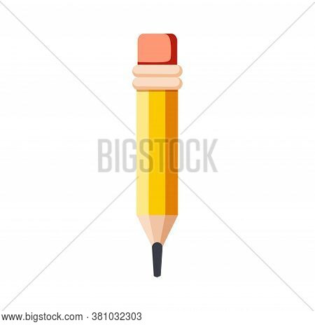 Pencil Write Isolated Icon. Yellow Wooden Pencil With Rubber Eraser. Sharpened Detailed Office Mocku