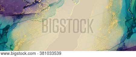 Abstract blue, violet and gold glitter color long horizontal background. Marble texture. Alcohol ink colors.