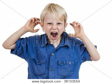 Angry Frustrated Young Boy