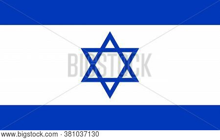 Isreal Flar Symbol, National Coutry Sign, Vector Illustration With Blue, White And David Star