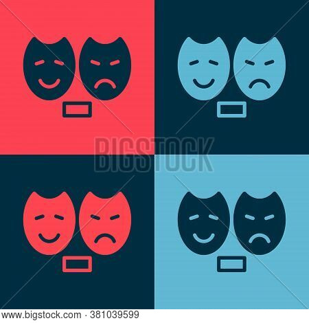 Pop Art Comedy And Tragedy Theatrical Masks Icon Isolated On Color Background. Vector