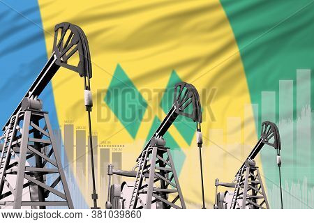 Saint Vincent And The Grenadines Oil And Petrol Industry Concept, Industrial Illustration On Saint V
