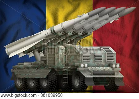 Tactical Short Range Ballistic Missile With Arctic Camouflage On The Romania Flag Background. 3d Ill