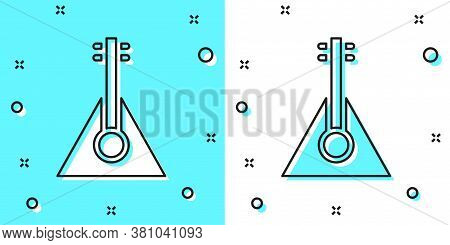 Black Line Musical Instrument Balalaika Icon Isolated On Green And White Background. Random Dynamic