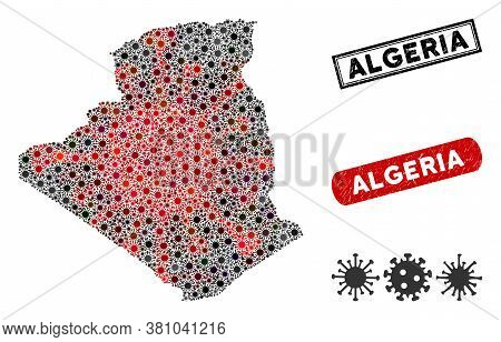 Coronavirus Collage Algeria Map And Corroded Stamp Watermarks. Algeria Map Collage Designed With Ran