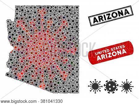 Coronavirus Mosaic Arizona State Map And Distressed Stamp Watermarks. Arizona State Map Collage Desi